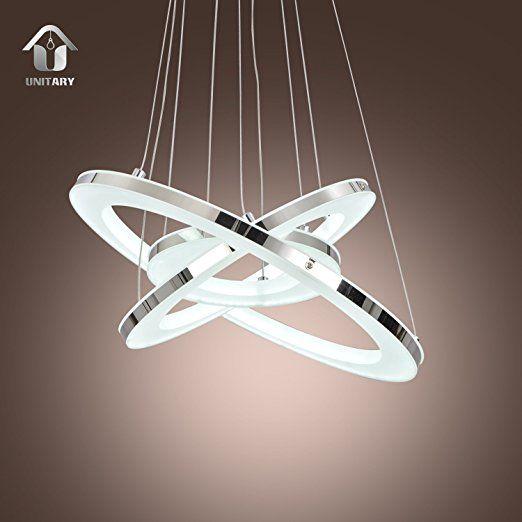 UNITARY Brand Modern Nature White LED Acrylic Pendant Light with 3 Rings Max 33W Chrome Finish