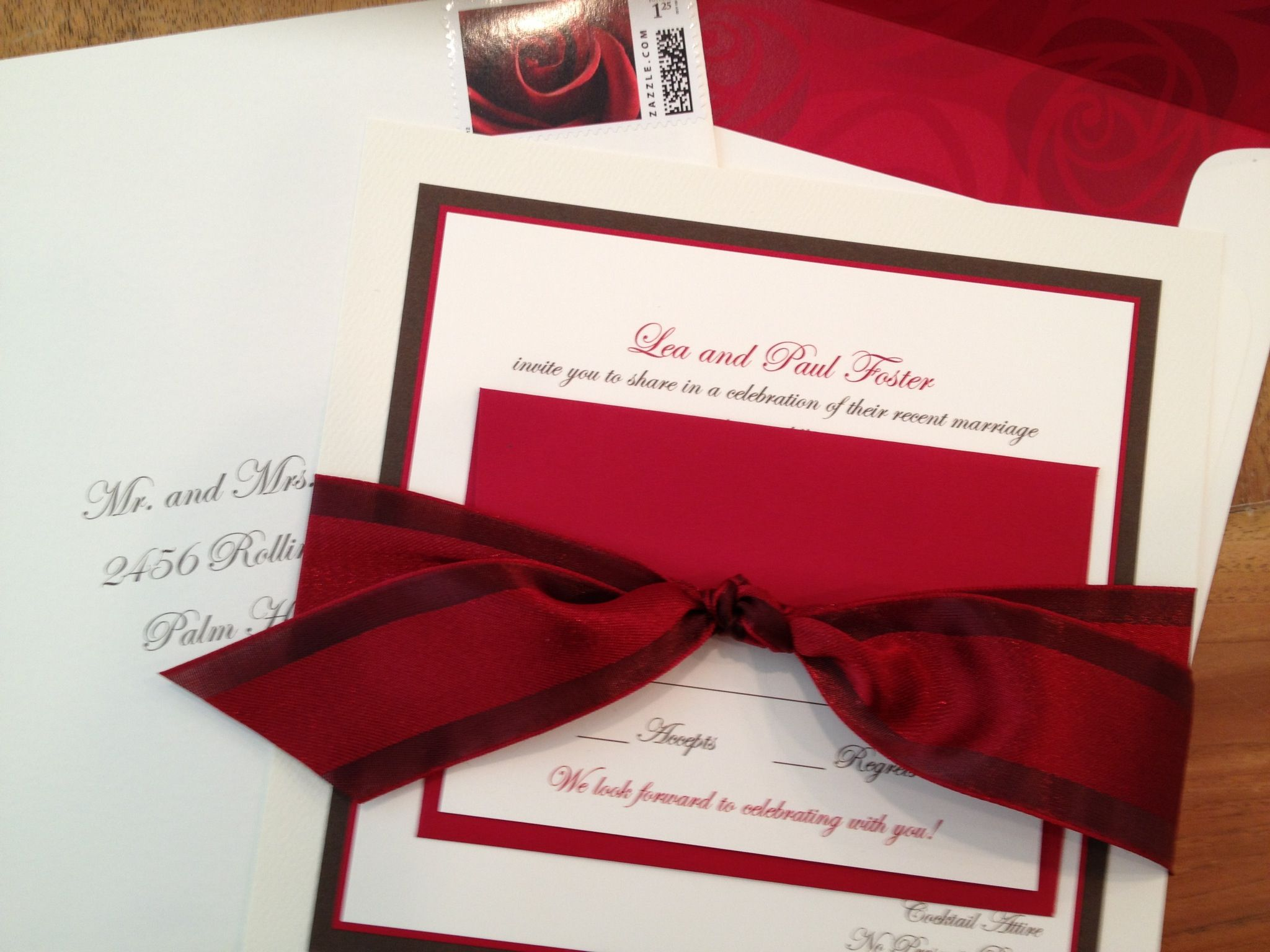 Invitations add a beautiful touch when tied with a ribbon. This ...