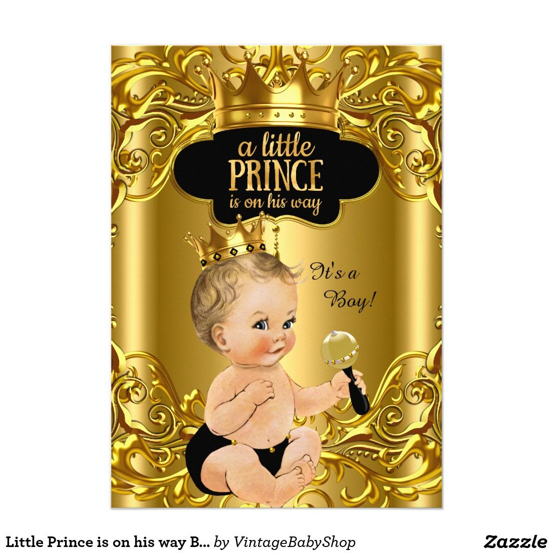 Little Prince Is On His Way Baby Shower Blonde X Paper Invitation Card