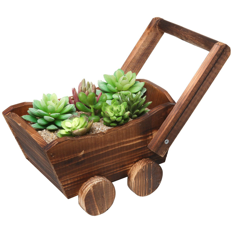 Amazon.com : Rustic Brown Wood Wheelbarrow Succulent Planter Holder ...