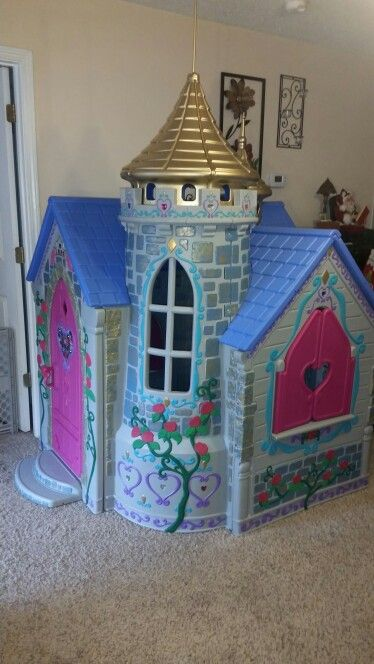 Retired Disney Castle Playhouse Completely Remodeled With Paint And Craft Gems Play Houses Castle Playhouse Build A Playhouse