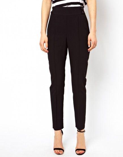 61179ac9d7b2 10 Fall Basics For Easy Audrey Hepburn Style | Black High Waisted Slacks