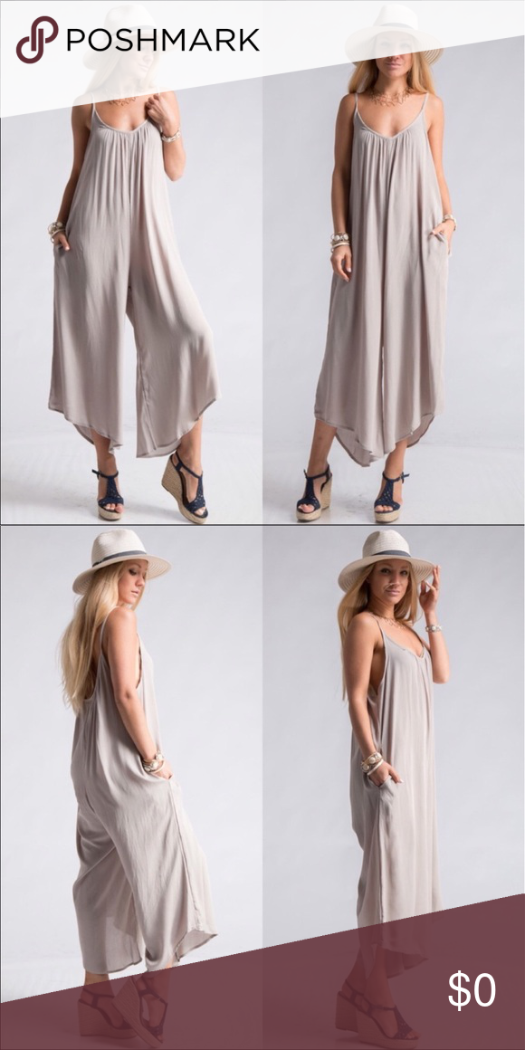 0d108a49d5ae Silver Loose fitting Romper also available in plum Comfortable Loose fitting  spaghetti strap drop open back for nice fit. 2 pockets wide enough for your  ...