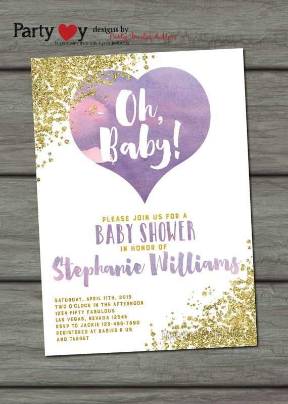 Purple and gold baby shower invitation watercolor baby shower purple and gold baby shower invitation by partyinvitesandmore filmwisefo