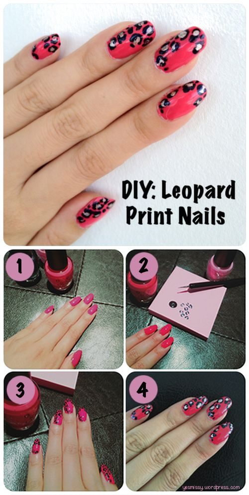 Diy Learn How To Do Leopard Print Design Nail Art Nails Pinterest
