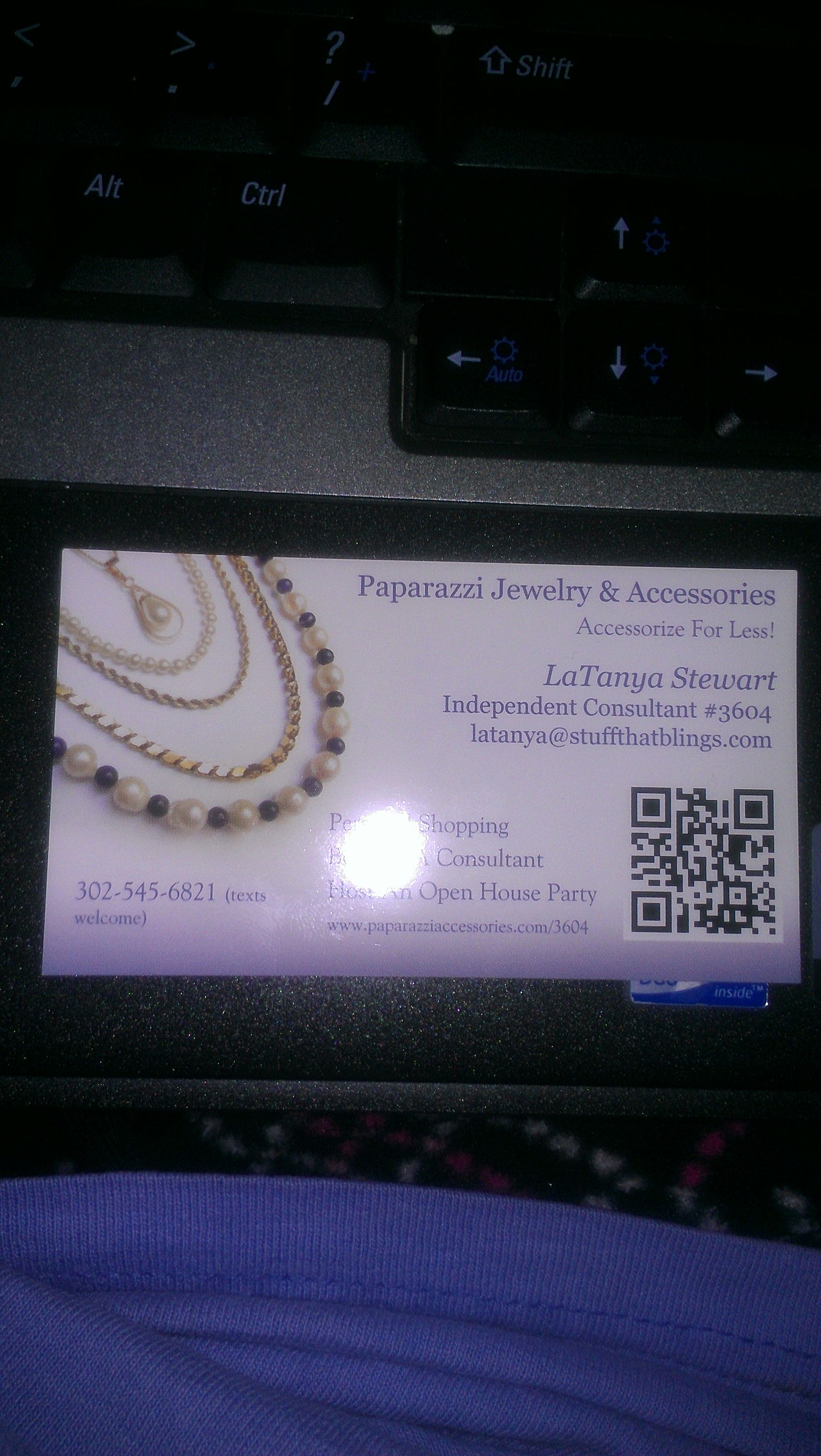 Business card. Scan the code to get to my Facebook page! I