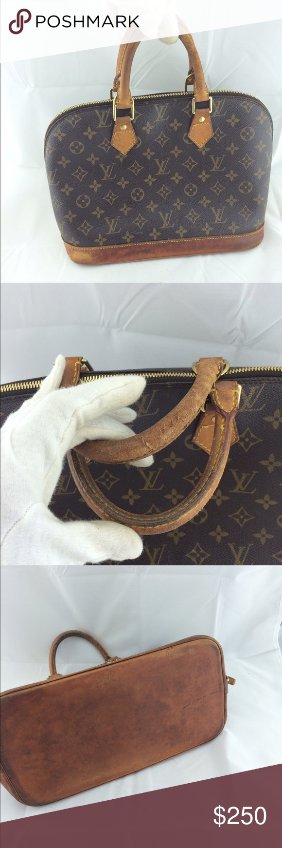 Authentic Louis Vuitton alma monogram Vintage .wear on leather handles and bottom .100% authentic Louis Vuitton Bags Totes