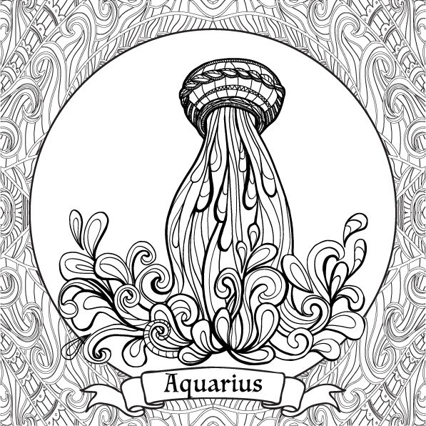 Coloring Book For Adult And Older Children. Coloring Page With 12 Zodiac  Signs. Outline Drawing. Zodiac Signs Colors, Coloring Pages, Planet  Coloring Pages