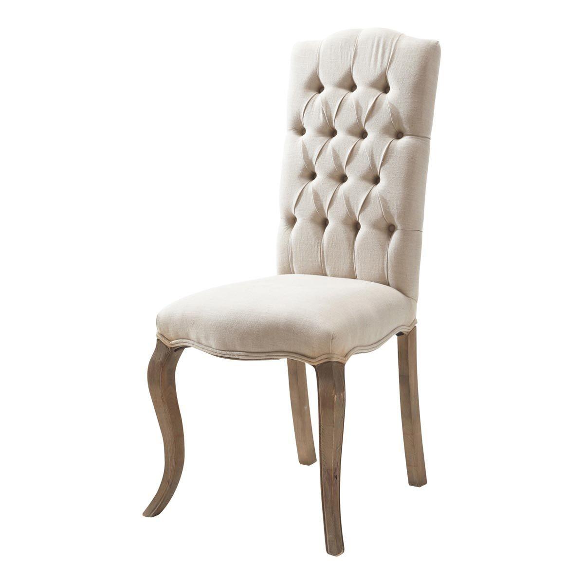 Linen And Ash Button Chair Maisons Du Monde Chaises De Salle A Manger Design Chaise Capitonnee Chaise De Salle A Manger
