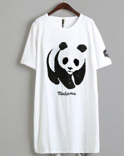 27fe36aa5 Sequins panda t shirt dress for women long t shirts madame printing ...