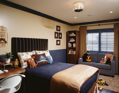 Soft Brown And Blue Wall Color Scheme With Modern Sofa In