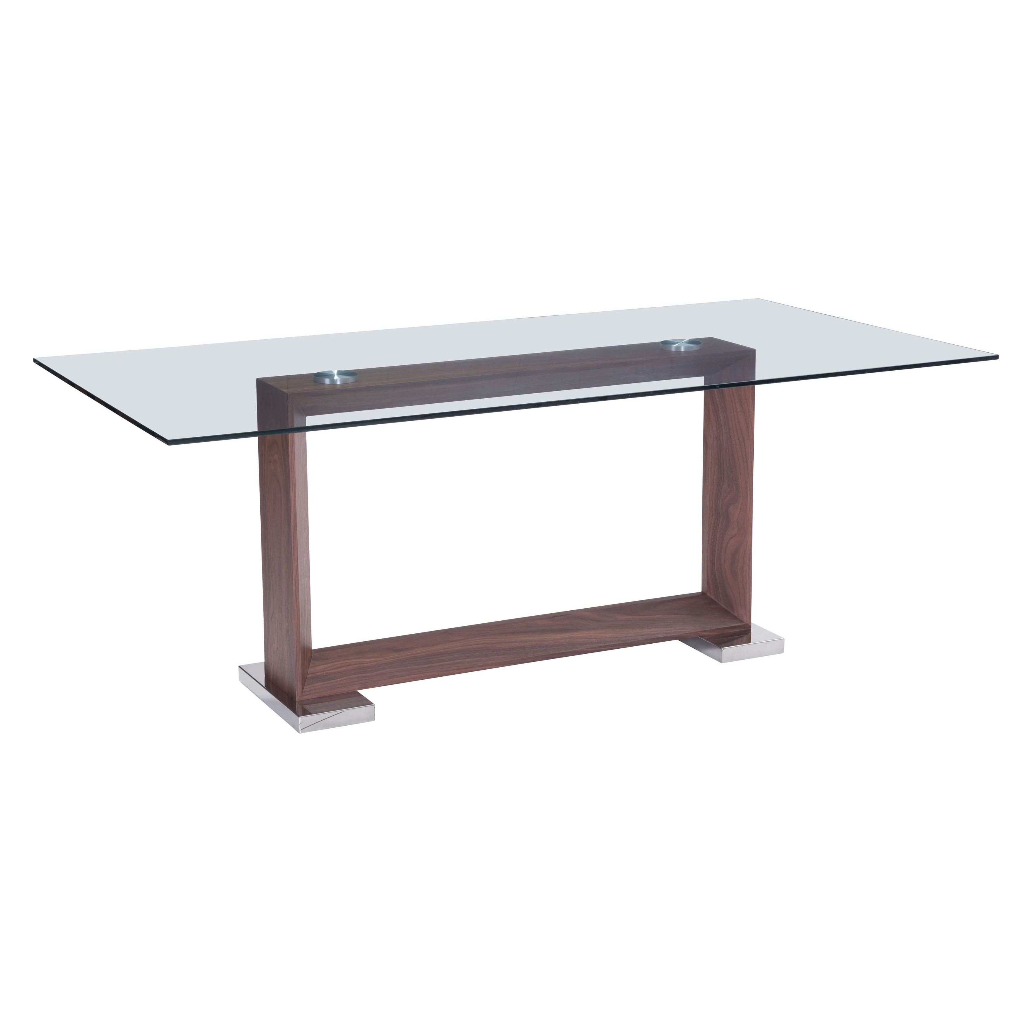oasis rectangular walnut finish glass top dining table overstock