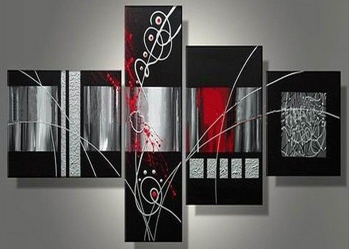 Free Shipping Handmade 4 Piece Black White Red Modern Abstract Wall Art Oil Painting On Canvas Unique Wall Art Living Room Black Art Painting Abstract Wall Art