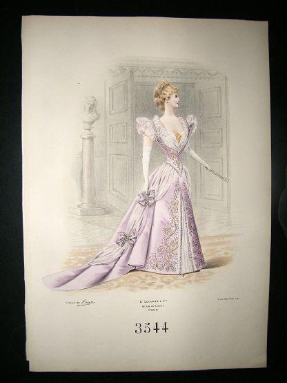French Fashion Print C1890 Folio Superb Hand Colour 3544 Fashion Illustration Vintage Fashion Prints Prints