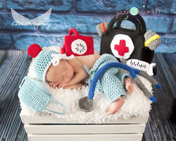 Newborn Baby Doctor Scrubs and Doctor Tool Set Bag | Newborn props ...