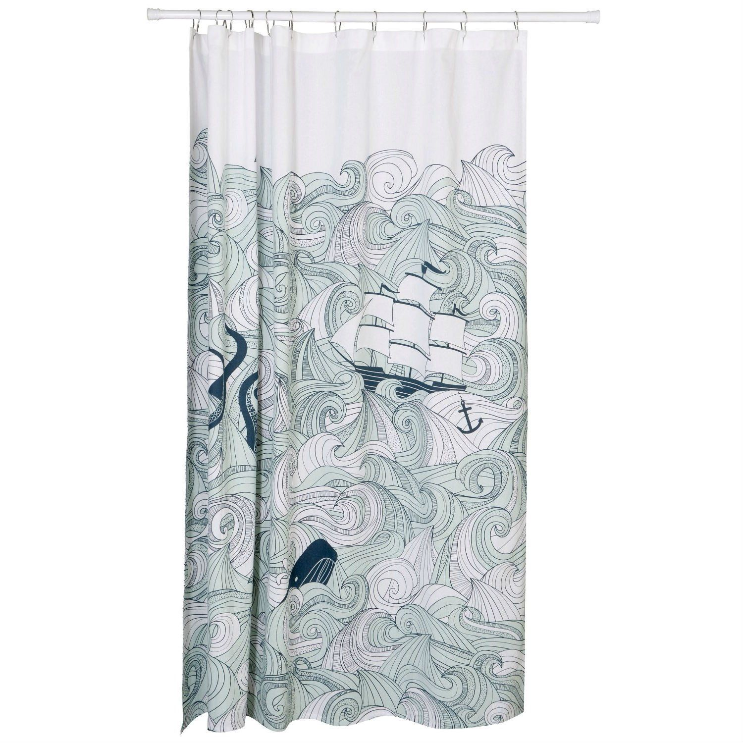 Cotton Shower Curtain With Waves Ship Anchor Octopus Mermaid
