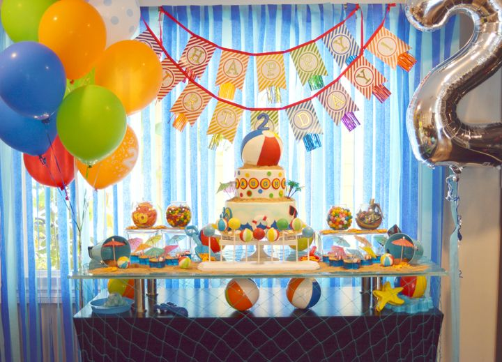 Pool Party Splash Birthday Dessert Table Decor With Colorful Balloons Beach Balls And Cake Also Rh