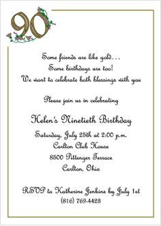 wording for 90th birthday invitations