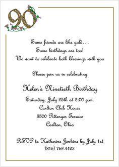 Wording For 90th Birthday Invitations 90 Birthday Invitations Golden Birthday 90th 90th Birthday Invitations Birthday Party Invitations Diy 90th Birthday