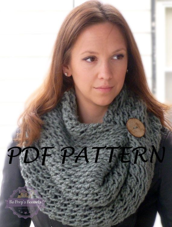 Lace Scarf KNITTING PATTERN, Button Cowl Pattern, Knitted Scarf ...