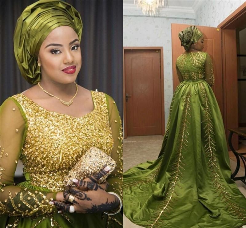 Luxury Gold Beades Aso Ebi Style Evening Dresses 2016 With Long