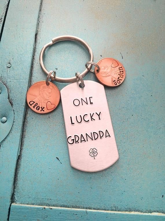 Personalized Grandpa Keychain, Fathers Day Gift For Grandpa, Papa Hand Stamped Gift For Him, Grandpa Birthday Gift, From Grandkids