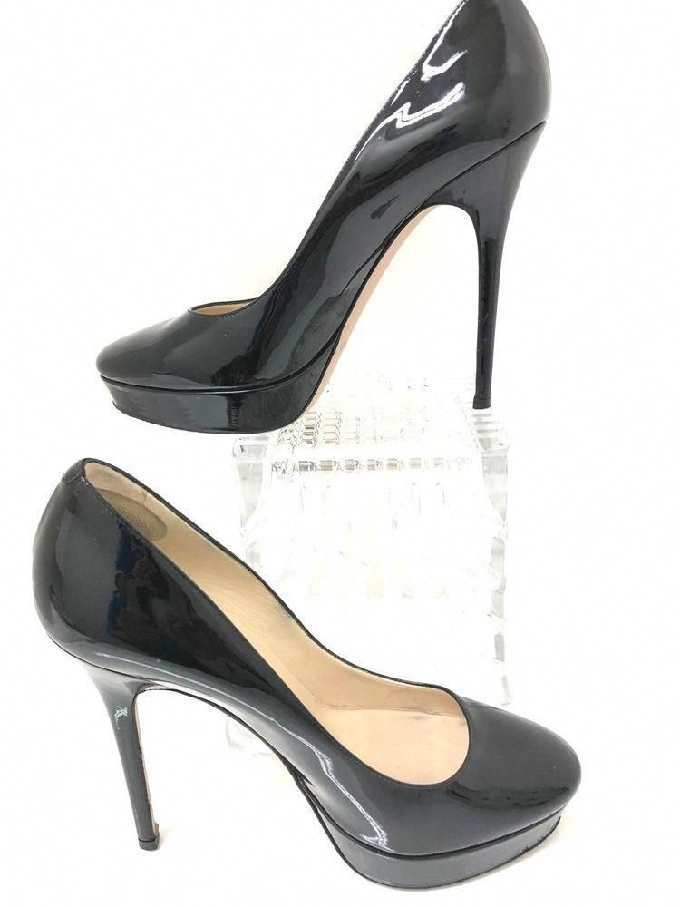 203dddc241a151 JIMMY CHOO Black Patent Leather Platform Pumps Stiletto Heels Size EU 39   Designerhandbags