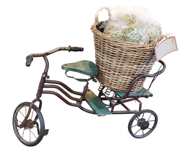 childes bicycle and basket isolated