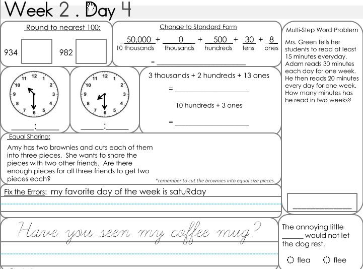 Daily Math and Grammar Morning Work | Learning with Mrs. S | A ...