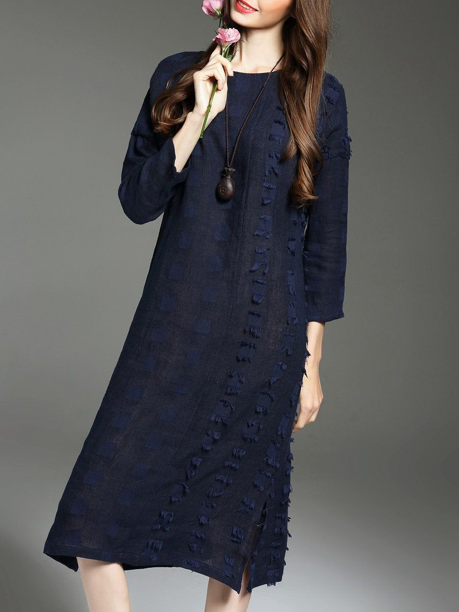 Adorewe stylewe midi dresses lanxin blue appliqued long sleeve