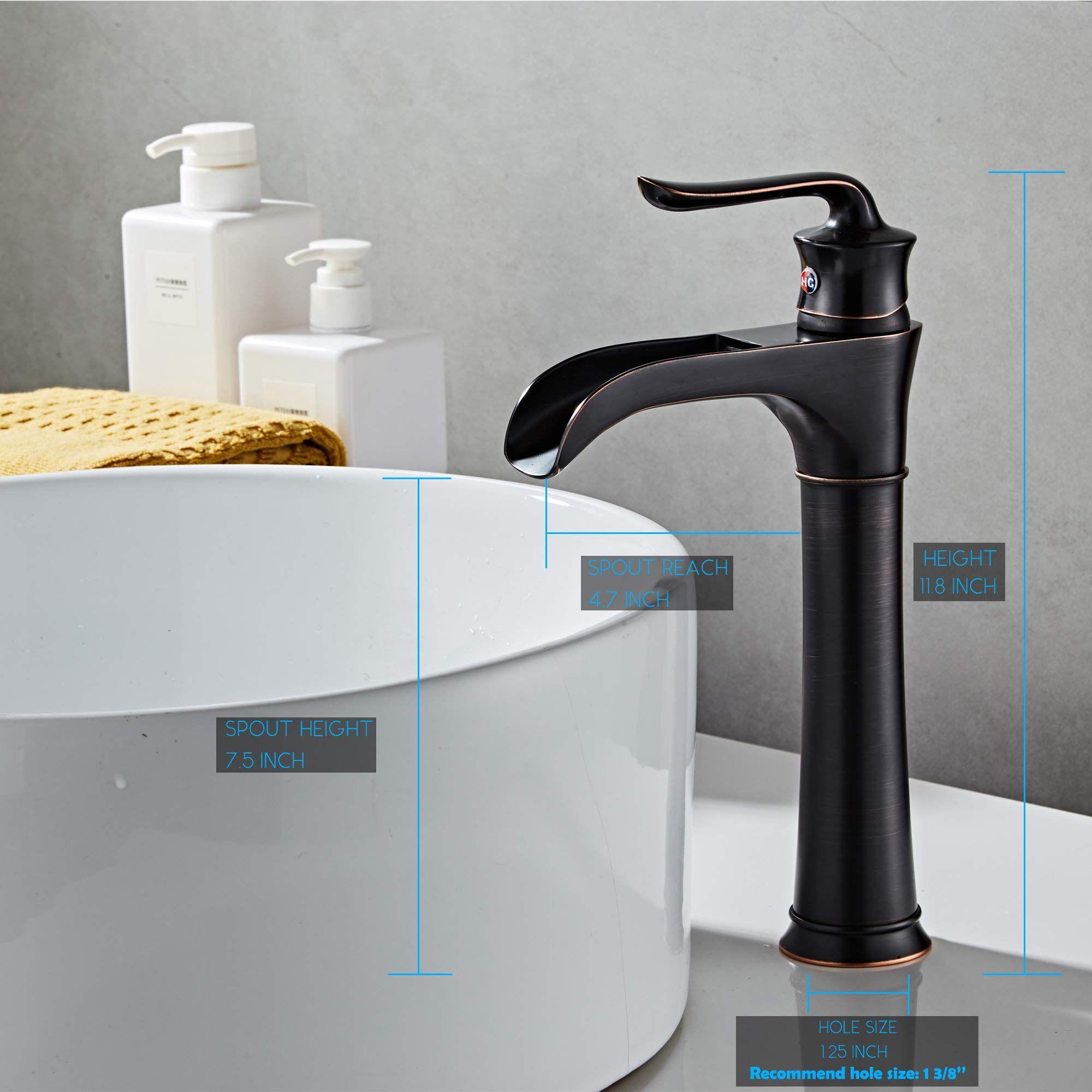 Farmhouse Waterfall Bathroom Faucet For Vessel Sink Single Hole Bowl Mixer Ta Bathroom Sink Faucets Single Hole Bathroom Faucets Waterfall Vessel Sink Bathroom