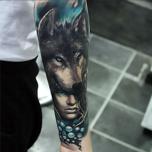 Amazing Girl With Wolf Headdress Beautiful Colors Sleeve Style Realistic Color Blue Tags Amazing Beaut Wolf Tattoo Sleeve Wolf Tattoos Wolf Tattoos Men