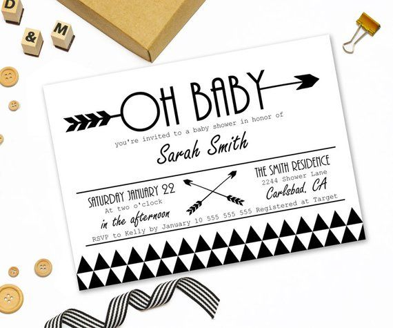 Modern Baby Shower Invitation Printable Tribal Arrow Black White