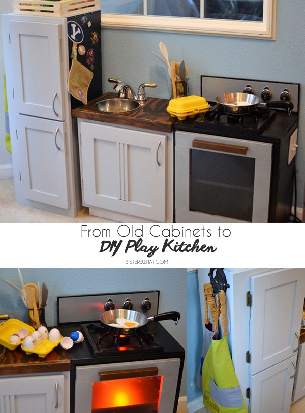 Diy Kids Play Kitchen From Old Cabinets Diy Play Kitchen Kids Play Kitchen Play Kitchen