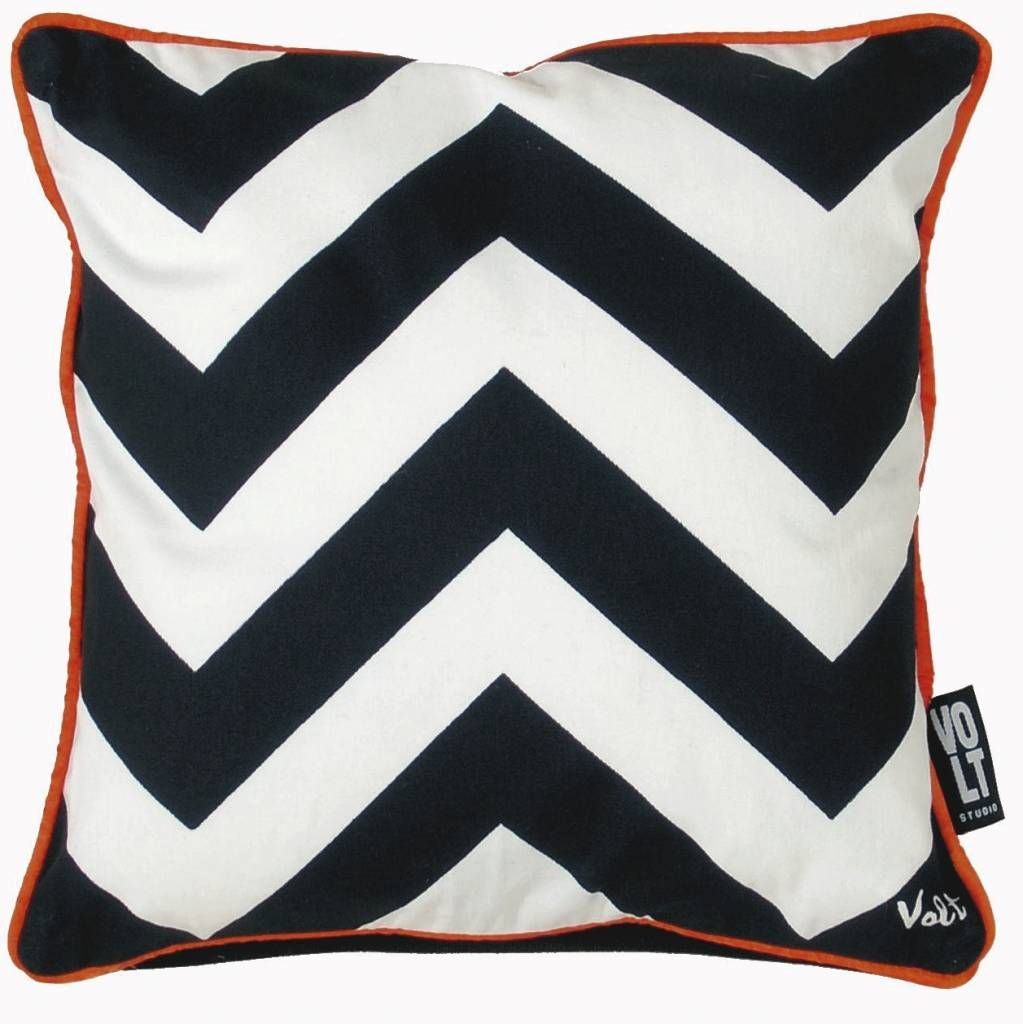 Volt Studio Pillow zigzag, black / white with orange border ...