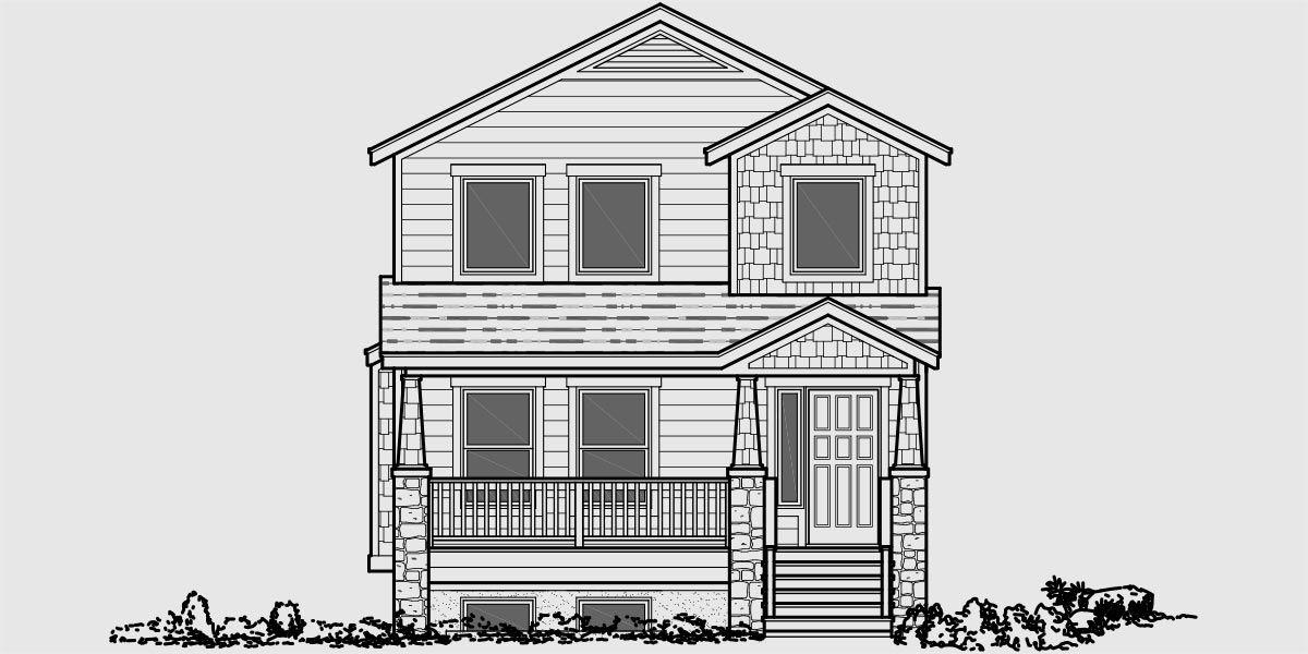house front color elevation view for d-571 duplex house plans, adu