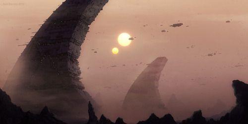 Isso não é Tatooine (arte de Neil Brevins).