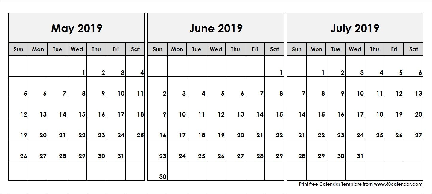 May June July 2019 Calendar In Pdf Word Excel Printable Template
