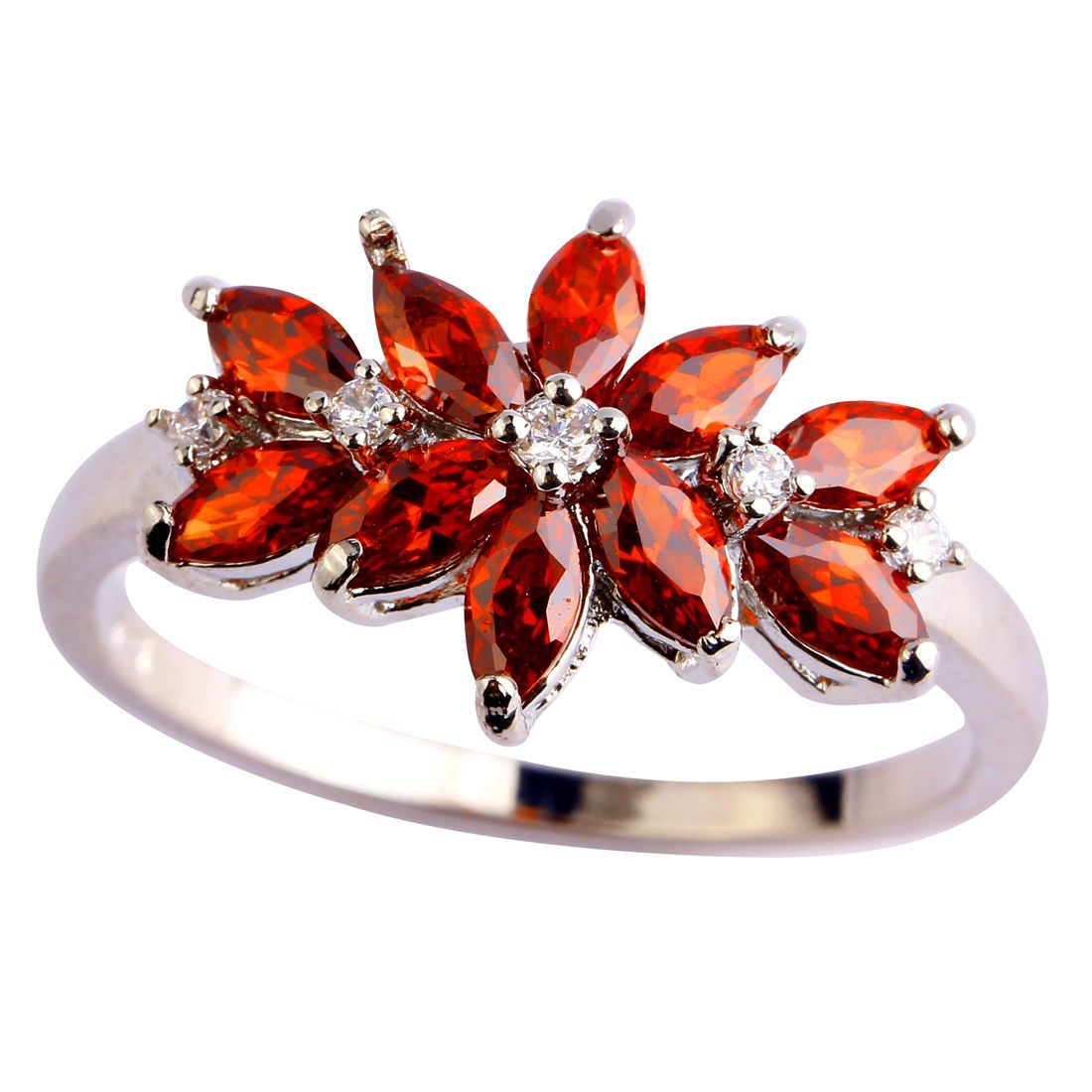 Estate Sapphire Quartz & White Topaz Gemstones Silver Ring Size 7 8 9 10
