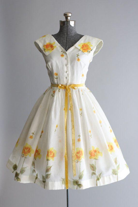 Vintage 1950s Dress 50s Cotton Dress Muriel Ryan Swiss