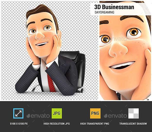 3d Businessman At Office Daydreaming Fonts Logos Icons