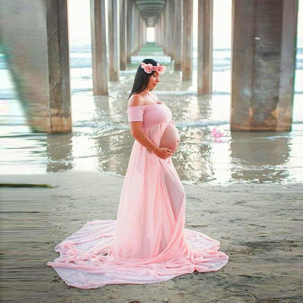 Off the Shoulder Split Front Maternity Gown Photo Prop | Gown photos ...