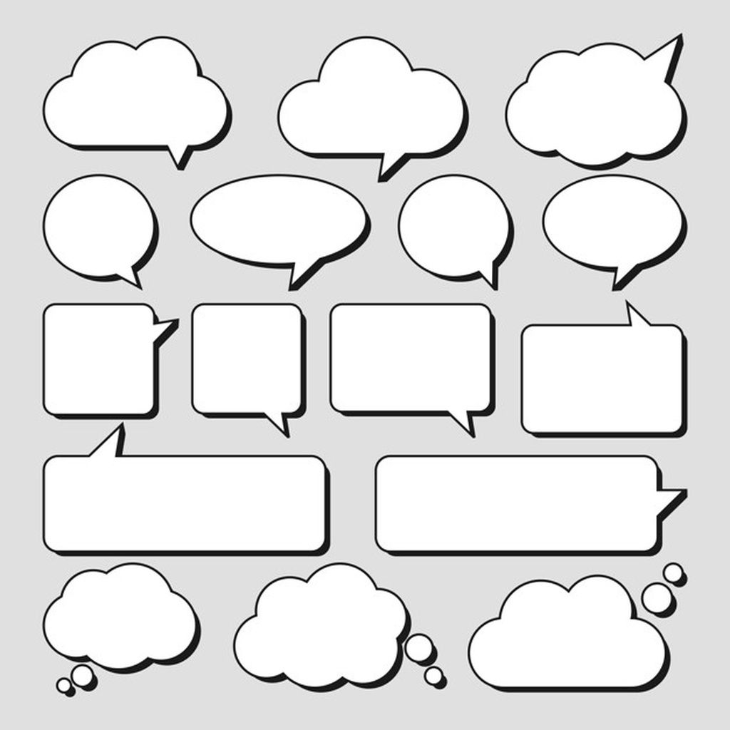 Set Of Stickers Of Speech Bubbles Paid Sponsored