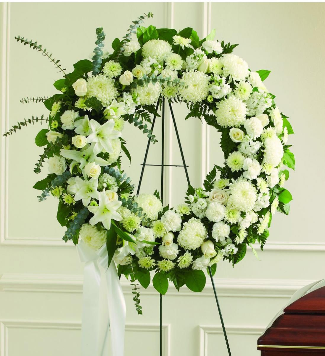 Large funeral wreath with chrysanthemums and roses 310 350 send a sympathy wreath to a funeral home for same day low cost delivery izmirmasajfo Images
