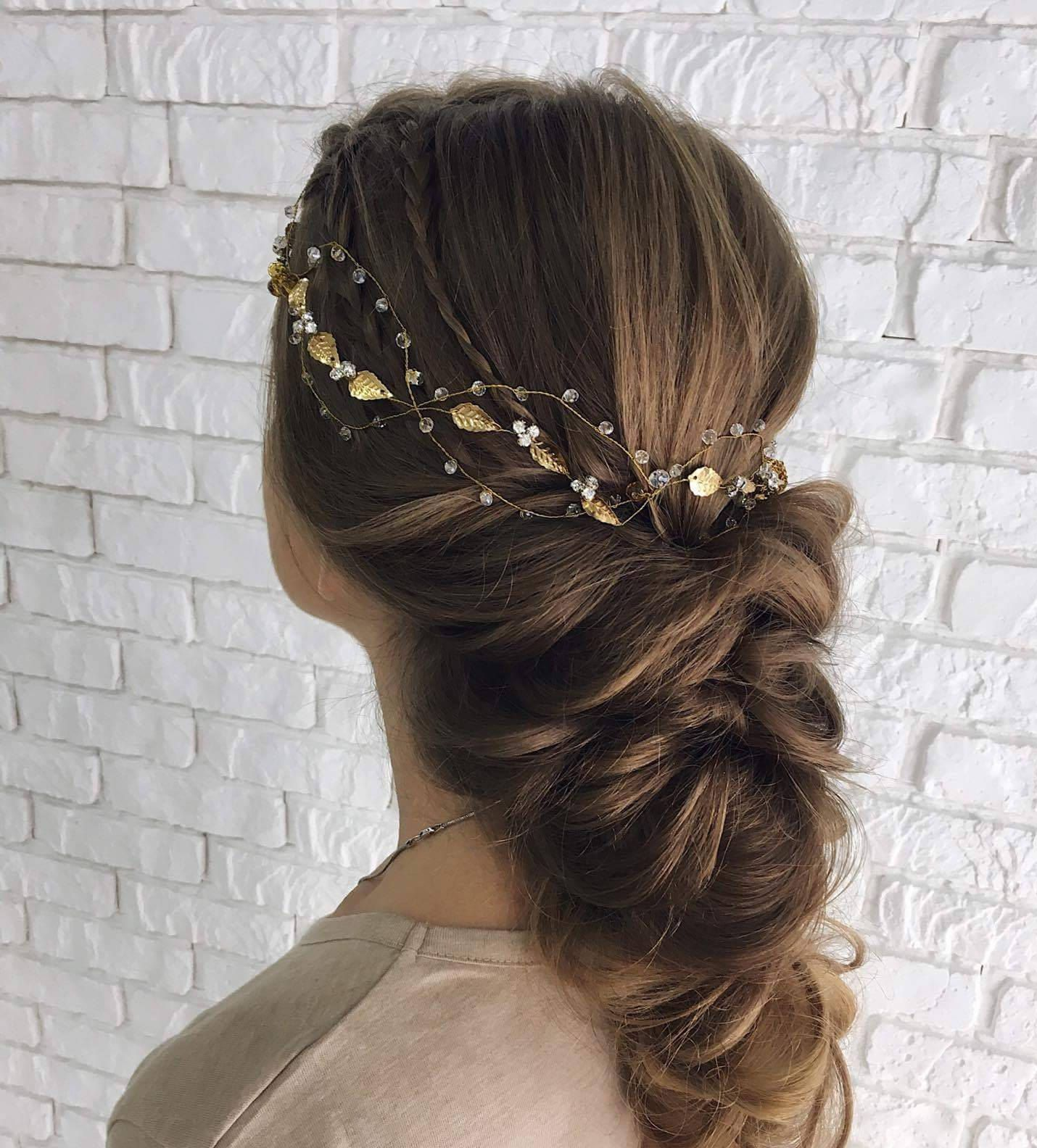 Beauty beast wedding inspired Gold leaf hair chain bridal crown Autumn wedding Prom hair jewelry Valentine day gift her women wife sister #hairchains