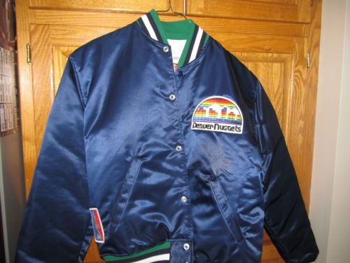 Vintage 80 S Denver Nuggets New Starter Jacket Satin Nba Large Denver Nuggets New Starter Vintage Sports
