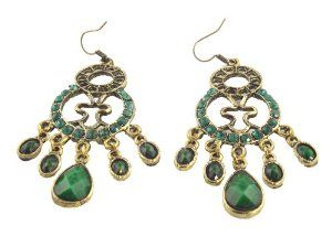 Vintage Style Emerald Green Drop Earrings Co Uk Jewellery
