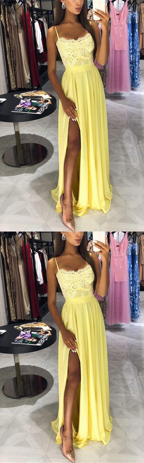 Yellow lace appliques long chiffon prom dresses leg slit evening