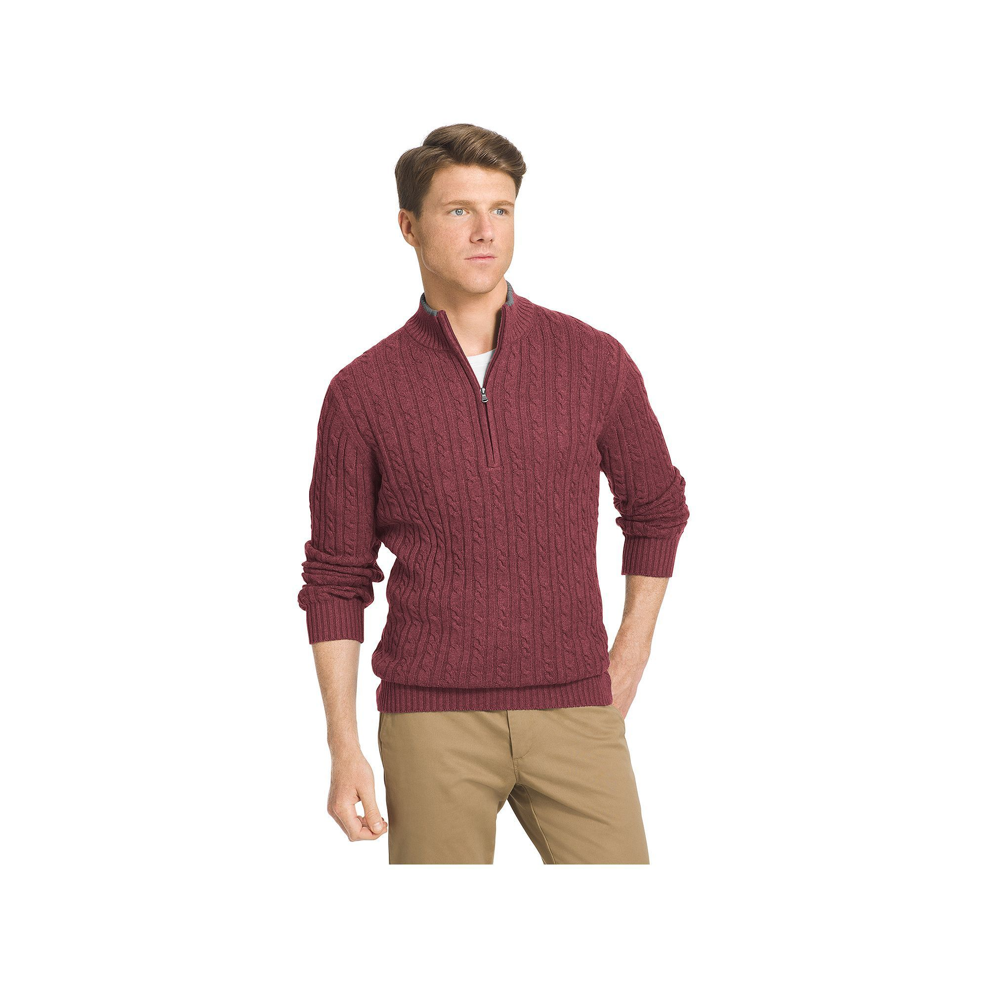 Big & Tall IZOD Classic-Fit 7GG Cable-Knit Quarter-Zip Sweater ...