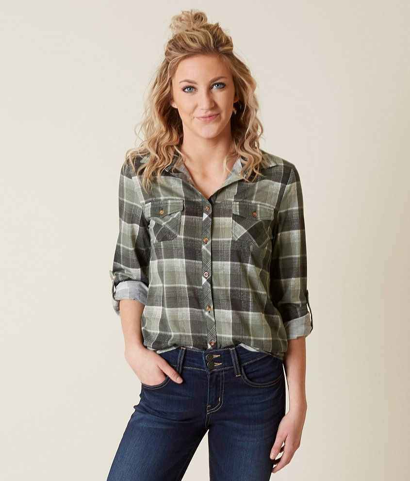 0ea10be6 Daytrip Flannel Shirt - Women's Shirts/Blouses in Sage Grey | Buckle ...